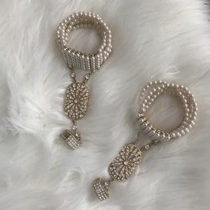 Jewelry - Bracelet Ring Set Gatsby Style Crystals & Pearls